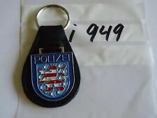 Polizei Schlüsselanhänger Thüringen Wappen blau auf Leder (i949-)