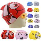 Children Kids Silicone Swim Swimming Cute Cartoon Cap Hat Waterproof Fish Shark