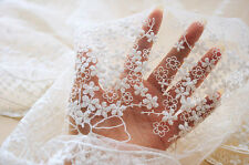 """1 yard Lace Fabric Ivory Tulle Cotton Babysbreath Embroidered Bridal 51"""" width"""