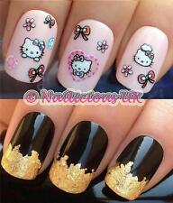NAIL Art Set # 524. GLITTER HELLO KITTY Adesivi / Decalcomanie / trasferimenti e oro foglia