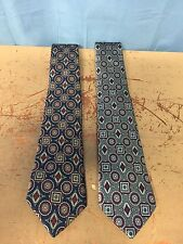 2 Mc Rae's Executive Collection Silk Ties Silver Blue With Geometric Designs 102