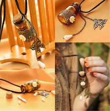 1pc Vintage Butterfly Flower Pendant Wishing Glass Bottle Leather Necklace Gift