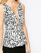 Finders Keepers The Creator Plunging Neckline Top Leopard Light Grey White £105