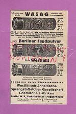 BERLIN, Werbung 1936, Westfäl.-Anhalt. Sprengstoff AG Chem. Fabrik WASAG