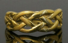 9Carat Yellow Gold Celtic Woven Head Ring / Band (Size O) 7mm Head Width