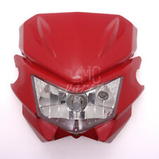 Red H4 Front Headlight Dual Sport Dirtbike Off Road Motocross Street Supermoto