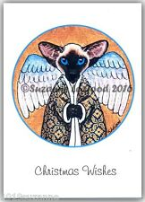 NEW 6 PACK SIAMESE CAT ANGEL PAINTING GLITTER CHRISTMAS CARDS BY SUZANNE LE GOOD