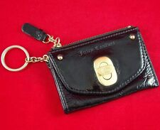 JUICY COUTURE BLACK PATENT LEATHER 3-Section WALLET COIN PURSE KEY RING CHAIN