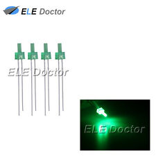 100pcs 2mm Diffused Green-Green Light DIP Flat Top LED Diodes