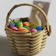 DOLLHOUSE Easter Basket #10 Wh. Bunny Rabbit OOAK Lola Originals Miniature 1-12