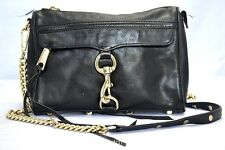 AUTH REBECCA MINKOFF MINI MAC BLACK/GOLD LEATHER CROSSBODY MSRP $198.00 #825