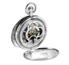 Woodford Chrome Plated Hunter Skeleton Twin Time Zone Pocket Watch,ref 1083