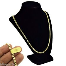 """Men's Cuban Link 14k Gold Plated Hip Hop Chain 30"""" Inch Long x 4MM Curb Necklace"""