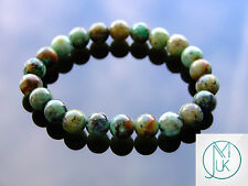 African Turquoise Natural Gemstone Bracelet 7-8'' Elasticated Healing Stone