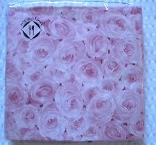 "20 Count Mesafina 3 ply LUNCHEON Lunch Napkins Paper 13""x13"" PINK ROSE Pattern"