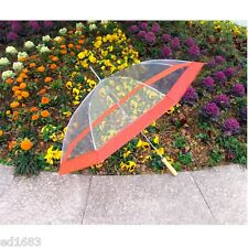 "48"" Auto Opening Clear Transparent Umbrella w/ Red Edge for The Rain, Decoration"