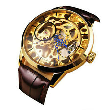 Men Mechanical Skeleton Watch Hand Wind Up Gold Dial Brown Leather Strap Ornate