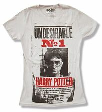 "HARRY POTTER ""WANTED"" POSTER IMAGE GREY BABY DOLL T-SHIRT NEW OFFICIAL JRS LARGE"