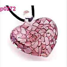 Abstract Charming Women's Chic heart lampwork glass bead pendant necklace FT56