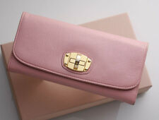 G5605M Authentic MIU MIU Turn-Lock Genuine Leather Long Wallet