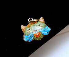 Vintage Chinese Enamel Puffy Cat Face Charm Double Sided Marked Silver Colorful