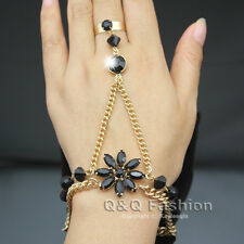 Chic Black Flower Crystal Bracelet Gold Slave Chain Hand Harness Ring Bridal