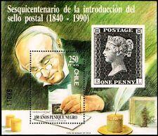 CHILE, 150th ANNIV. BLACK PENNY, SOUVENIR SHEET, MNH, YEAR 1990, BLOCK N° 50.-