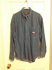 Ralph Lauren Chaps Men's Button Down Denim Patriotic USA Flag Shirt Large