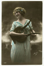 c 1914 Music Musical Young BEAUTY w/ LUTE Harp tinted photo postcard