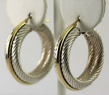 Vintage Two Tone 14k Yellow Gold Sterling Silver Triple Band Hoop Earrings