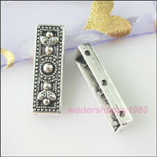 12Pcs New Tibetan Silver Tone Charms 3-Hole Spacer Bar Beads DIY Crafts 9x26mm