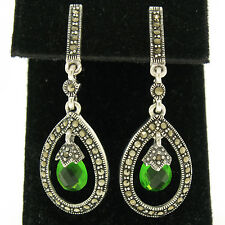 Marcasite .925 Sterling Silver Small Tear Drop Emerald Dangle Halo Earrings