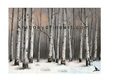 """ORIGINAL ACEO PAINTING """"BIRCH IN DUSK"""" TREES, FARM LANDSCAPE PRINT By Anthony D"""