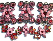 6-2 HOLE SLIDER BEADS BURGUNDY & MAUVE LT. SIAM, SIAM & LT. SIAM AB FANCY FLORAL