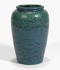 "Hampshire Pottery 7"" vase matte blue green curdled snake glaze arts & crafts"