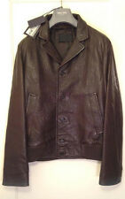 NWT AUTHENTIC Prada Men's Brown Leather Bomber Jacket-EU48 US M-Retail $2750