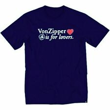 VON ZIPPER IS FOR LOVERS T SHIRT TEE TOP NAVY BLUE LARGE RRP £25.00