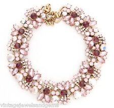ROSE PINK CRYSTAL RHINESTONE Chunky Vtg Link Choker Collar Statement Necklace