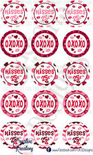 "(15)  1"" Precut Bottle Cap Images Happy Valentines Day OXOXOX"