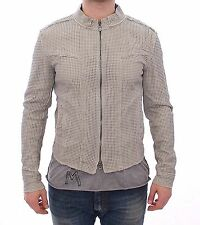 NWT $3400 DOLCE & GABBANA Beige Perforated Leather Jacket Läder Jacke s. 46 / S