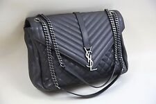 YSL Yves Saint Laurent Large Monogram Tri-Quilted Leather Chain Shoulder Bag