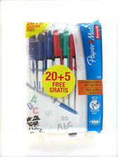 PAPERMATE BALLPOINT PENS 10 BLUE, 7 BLACK, 4 RED, 4 GREEN FINE 0.5MM NEW