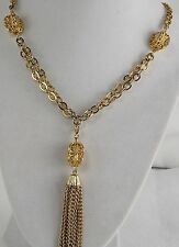 """24"""" Gold tone Chain Necklace with 2 1/4"""" Removable Tassel Pendant Spring Clasp"""