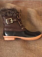 Women's Fur Lined Brown Duck Boots With Side Zipper Size 6 1/2