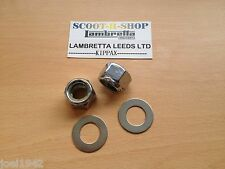 CHROME ENGINE & SHOCKER NYLOCK NUTS & WASHERS S/S. FOR LAMBRETTA GP-LI-SX-TV