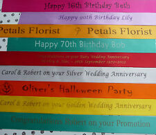 Personalised Satin Ribbon 20mm width Wedding favours birthday cakes crafts etc
