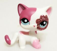 Hasbro Littlest Pet Shop Rare LPS #2291 Figure Cat Glitter Sparkle White Pink D1