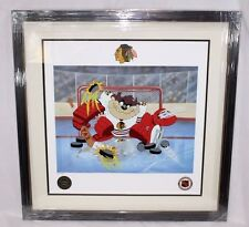 Looney Tunes TAZ WARNER BROS BLACKHAWKS Devil of a Save NHL HOCKEY Litho FRAMED