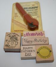 Lot 5 stamps + Roller stamp Rubber Stamp Scrapbooking Birthday Fathersday & more