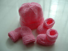 BABY GIRLS HAND KNITTED HAT, MITTENS, BOOTEES SET, PINK CANDY FLOSS, 0-3 M, NEW